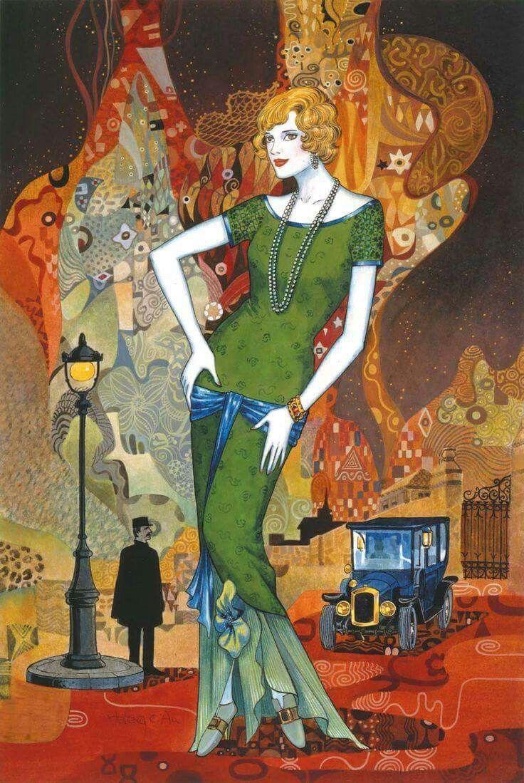 Owl greeting card set welsh artist jen delyth celtic art studio -  Chinese Canadian Painter And Illustrator Helen Lam Art Deco Style