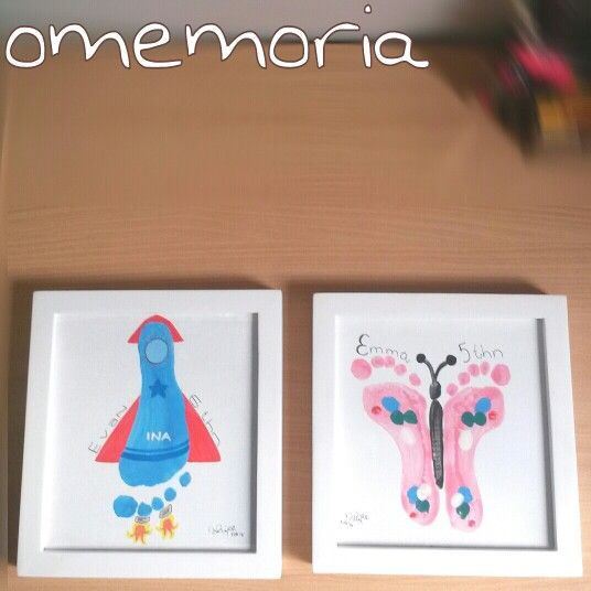 sibling footprint art. imagine when they're all grown up and look back at their little foot :')