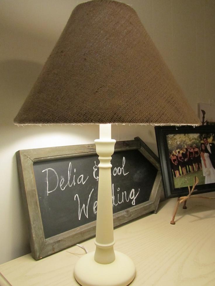 Cool living diy burlap lamp shade lampshade pinterest for Diy wall lamp shade