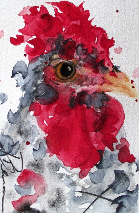 Rooster Art Rustic Country Farm Decor, Original Watercolor Print of Rooster