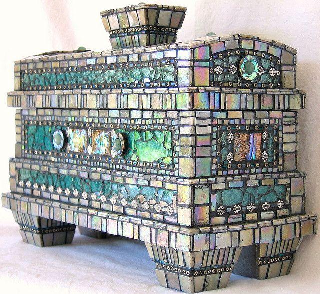 "Lin Schorr Mosaic Box ""Atlantis"" (iridescent vitreous tiles,  tempered glass, glass beads,  metal beads, green jasper,  abalone shell, acrylics & mica's) http://linschorr.com/artwork/384696_of_Atlantis.html"