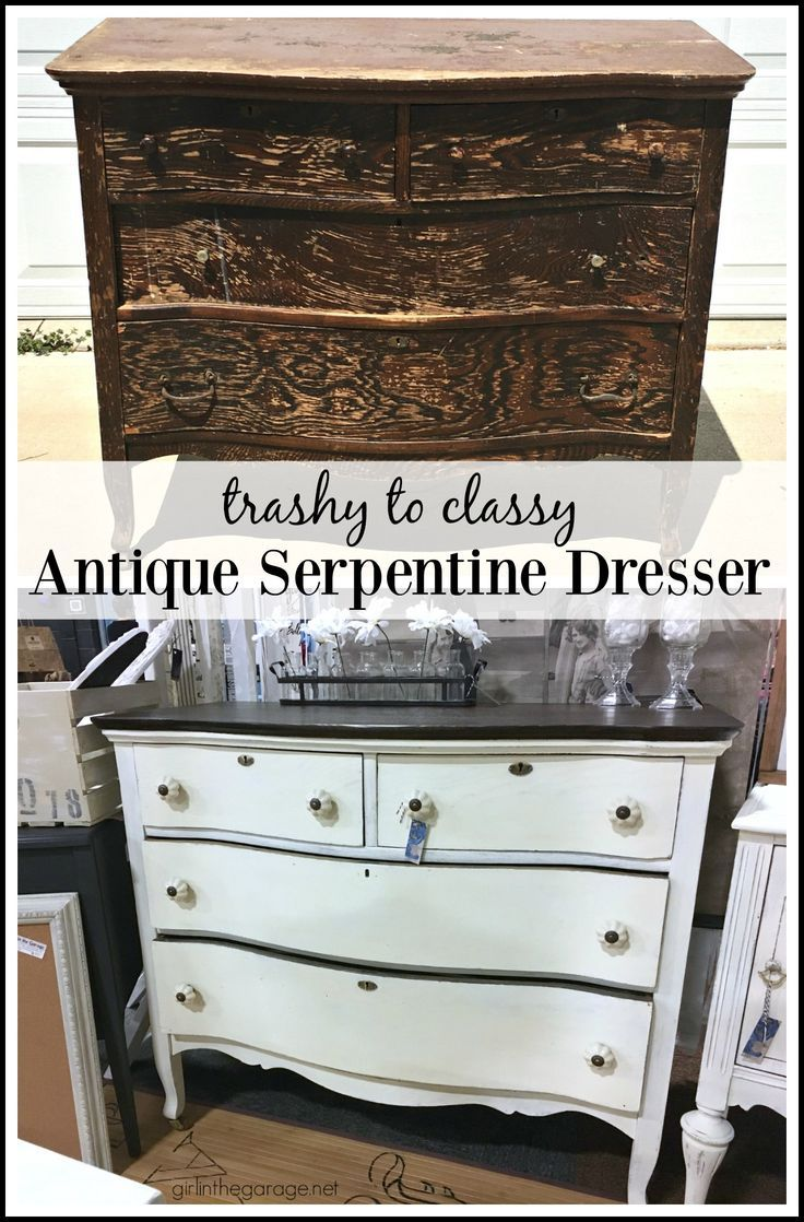 Antique Serpentine Dresser Makeover Diy Tutorial With New Stain And Annie Sloan Chalk Paint In The Garage