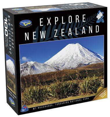 A 100 piece jigsaw puzzle from the Explore New Zealand range featuring an image of Mt Ngauruhoe in Tongariro National Park by New Zealand photographer Bob McCree.
