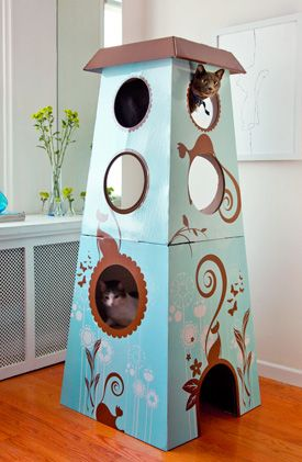 Catemporary Cat Castle: artistic cardboard tower, with a full color print, has multiple levels for climbing and perching.