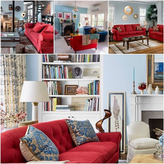 salon canapé rouge mur bleu gris poussérieux                                                                                                                                                     Plus
