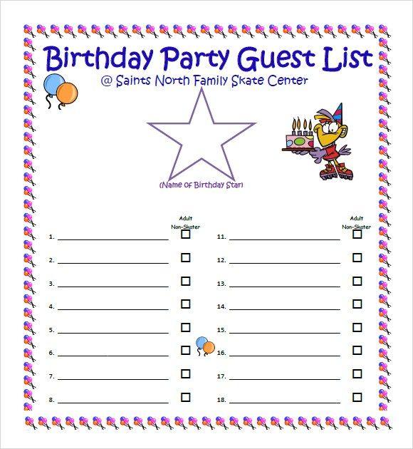 10 Guest List Templates Word Excel Pdf Templates Guest List Template Guest List Party Guests
