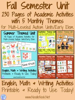 ------- 230 Pages with 5 Monthly Themed Units- Adapted Materials for ELA and Math in Autism Units to Last the ENTIRE FALL SEMESTER!------- Do you need quality curriculum to use with your students? This is a TOTAL GAME CHANGER
