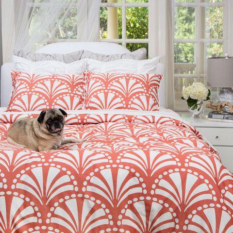 The Clementina Coral Duvet Set. Great site for designer bedding!