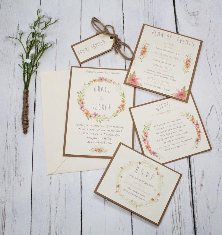 Boho Floral Wedding Invitation Bundle Rustic Wedding Delicate Romantic Wedding Invite With Twine Unedited or Personalized Sample (1.00 GBP) by FreddyandFreja