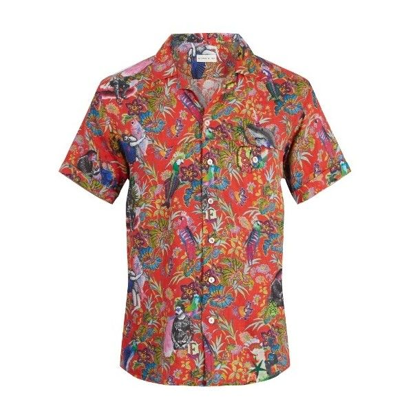 Etro Tropical-print short-sleeved linen shirt (390 CAD) ❤ liked on Polyvore featuring men's fashion, men's clothing, men's shirts, men's casual shirts, pink multi, mens unicorn shirt, mens curved hem t shirt, mens slim fit linen shirts and mens tailored shirts