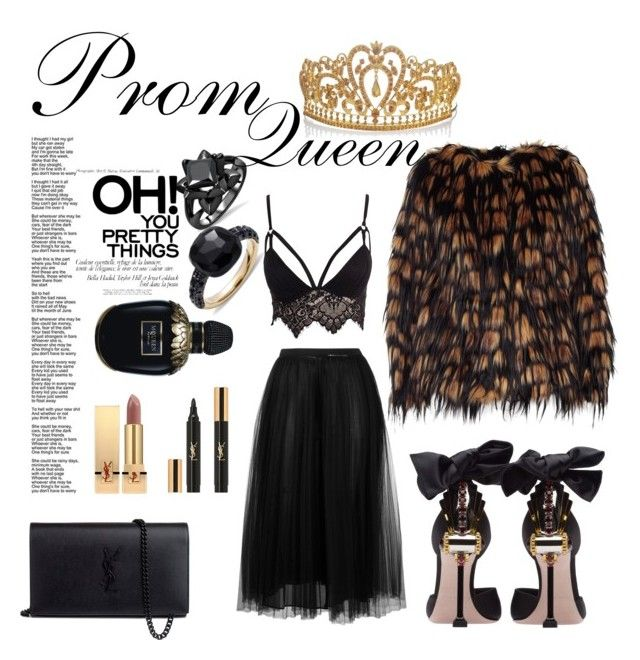 """It's Prom night!"" by nancykou on Polyvore featuring Dries Van Noten, Club L, Miu Miu, Pomellato, Yves Saint Laurent, Valentino and Alexander McQueen"