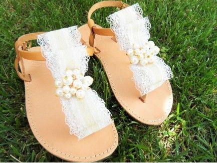 Burlap Bow Sandals
