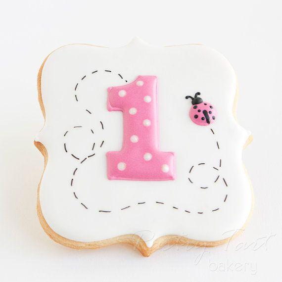 Cookie de número con mariquita