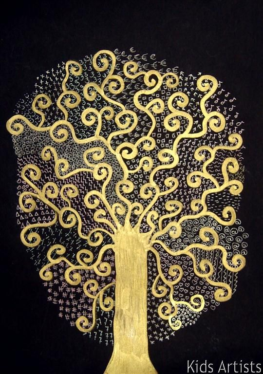 kids artists tree of life in the style of gustav klimt