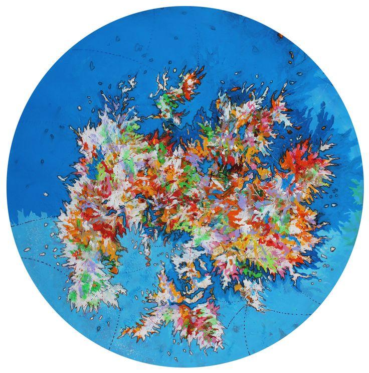 Mario Vespasiani - Senza titolo - acrilico su carta geografica, 60cm diametro 2013