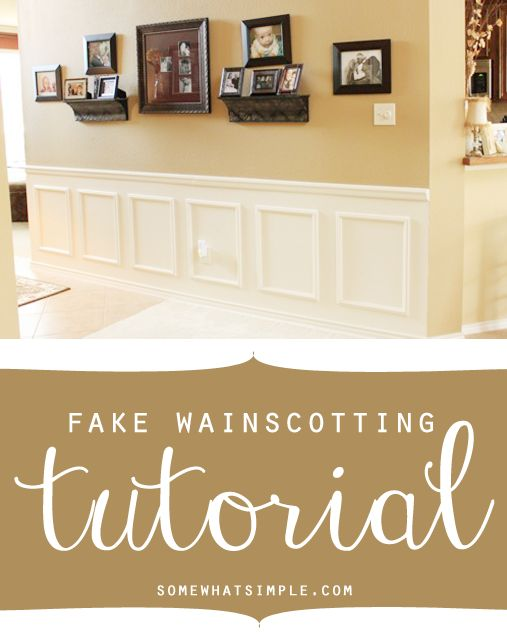 Fake wainscotting tutorial featured on Somewhat simple