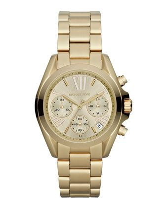 Mid-Size Golden Stainless Steel Bradshaw Chronograph Watch by Michael Kors at Neiman Marcus.