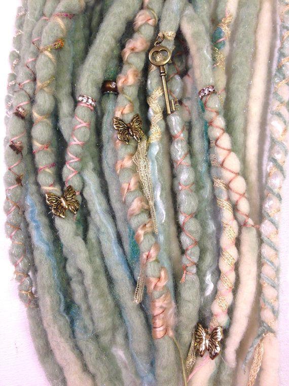 wool dreads set  SEA BABY  31 tips pastel green by caseyuggen