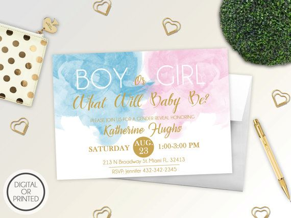 Gender Reveal Invitation  Watercolor Gender by GreatOwlCreations