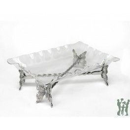 Arthur Court Butterfly Stand w/Acrylic Tray. Butterfly-design base is made of hand-poured aluminum polished to a lustrous sheen. Fluted Rectangle tray is clear acrylic.
