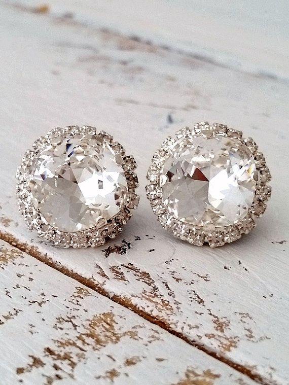Clear crystal earrings | Stud earrings | Bridal earrings | white wedding | silver wedding| crystal earrings by EldorTinaJewelry | etsy.me/1JA7e0P