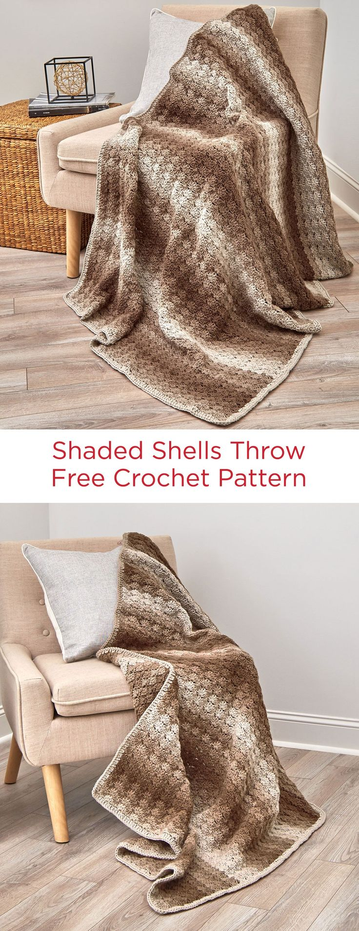 Shaded Shells Throw Free Crochet Pattern in Red Heart Super Saver Ombré yarn -- You'll love how the ombre print color moves from light to dark and back again for that gradient look without having to add different colors! Crochet it in an easy shell stitch that softens the color changes.