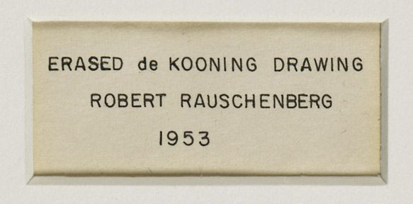 Detail of Robert Rauschenberg's Erased de Kooning Drawing (1953) showing the inscription made by Jasper Johns