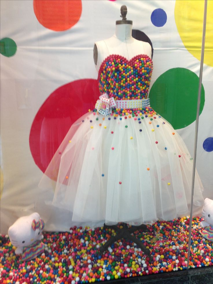 Candy party decor inspiration- you can make a table top sized one using the smaller version of the dress form mannequin sold in stores and hot gluing gum balls on it and tulle for the skirt