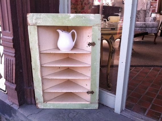 Salvaged Vintage 5 Shelf Hanging or Free Stand Corner Cabinet with Old Paint & Original Butterfly Hinges