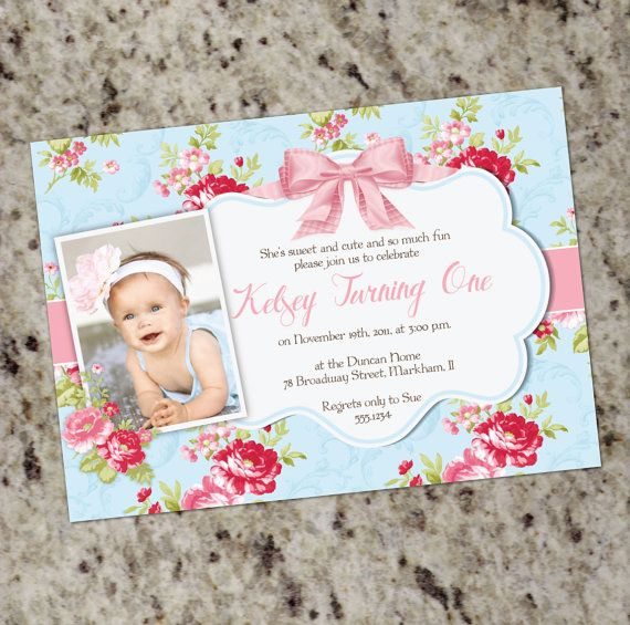 Shower pink blue coral party invitations shabby and invitations