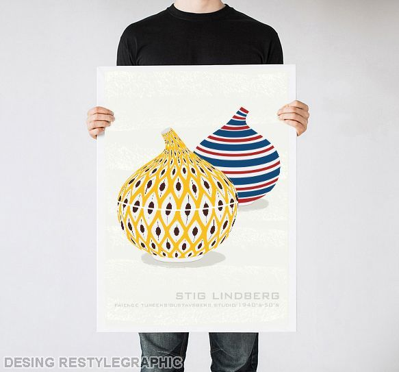Contemporary kitchen art print, Stig Lindberg tureens poster, Scandinavian art via ReStyleGraphic. Click on the image to see more!