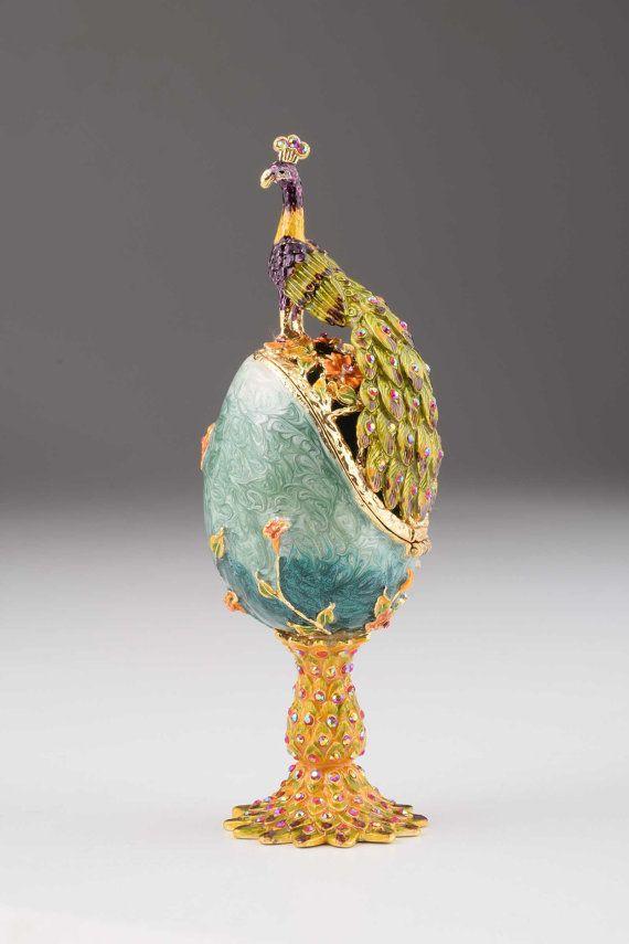 Peacock Faberge Egg Handmade Trinket Box Decorated with Swarovski Crystals