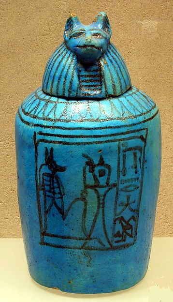 Canopic Jar w/ Head of Duamutef  --  Circa 1295-1185  --  Egypt, Dynasty 19  --  Faience  --  The Metropolitan Museum of Art