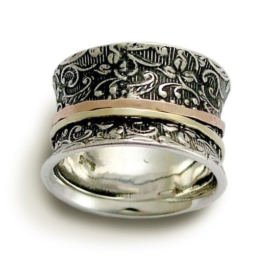 Spinner ring - Sterling silver with rose and yellow gold spinners ring - A way of life