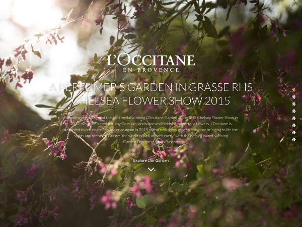 Microsite allowing users to explore the upcoming Loccitane garden for the 2015…