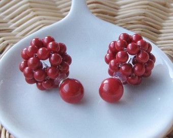 Red coral double sided cluster earrings