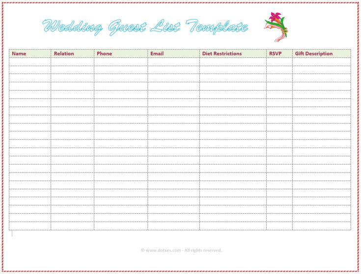 Wedding List Template Wedding Vendor Contact List Template Items