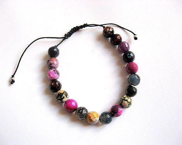 Bratara barbati, pietre semipretioase agate fatetate multicolore  - idei cadouri barbati si femei