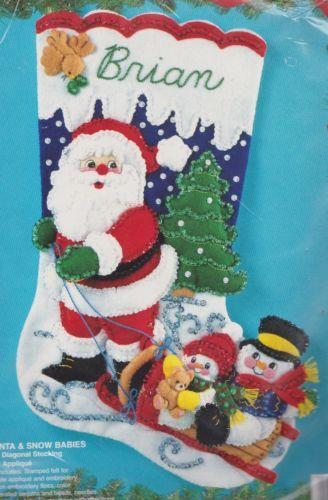 """Santa & Snow Babies"" Sledding Snowman Felt Stocking Kit - Bucilla NIP 83116"