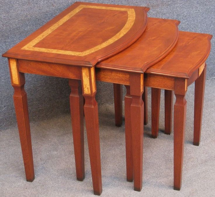 Mahogany & Burr Elm Bow Front Nest Of 3 Coffee / Occasional Tables  #NestOf3CoffeeOccasionalTables