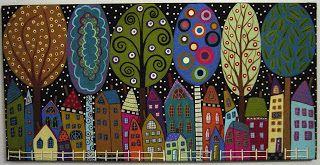 karla gerard art: 20 Houses & 6 Trees Painting by Karla G