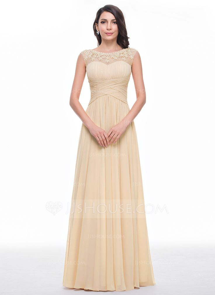 A-Linie/Princess-Linie U-Ausschnitt Bodenlang Chiffon Tüll Abiballkleid mit Rüschen Perlen verziert Blumen (018056791) - JJsHouse