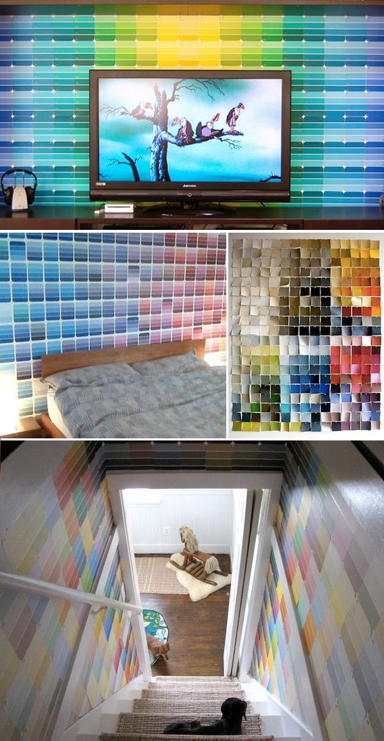 Instead of three walls one color and one wall a statement color, use those paint chips for the third wall!  Hope there isn't a run on the paint stores for the paint chips!