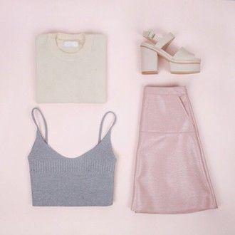skirt pastel crop tops sweater heels pink shoes