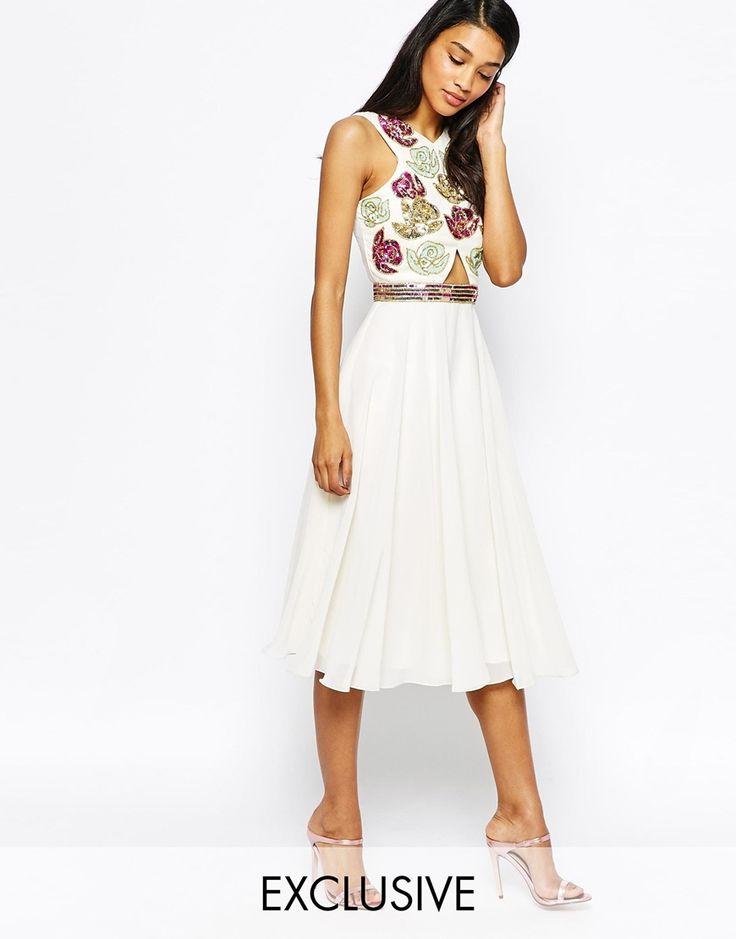 Virgos Lounge Regina Embellished Wrap Top Midi Dress With Full Skirt