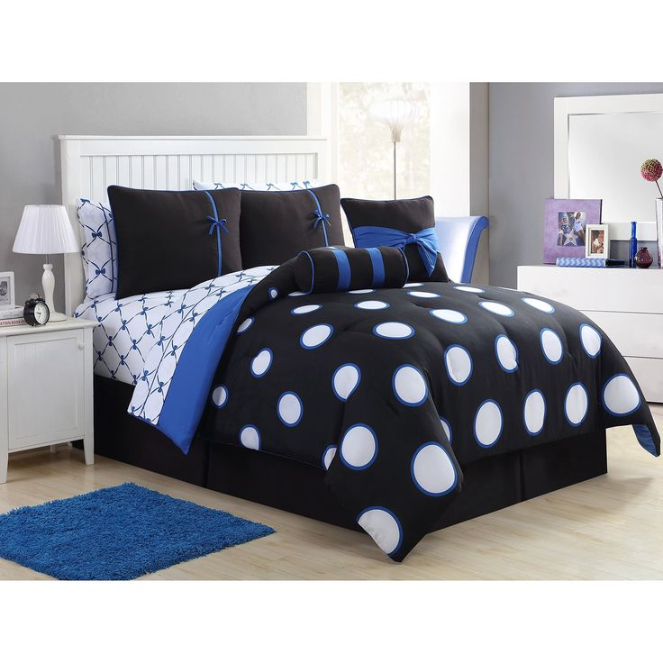 Teen Girl Comforter Sets Blue and Black Polka Dot Bed in a Bag with Designer Home Sleep Mask (Twin Blue)
