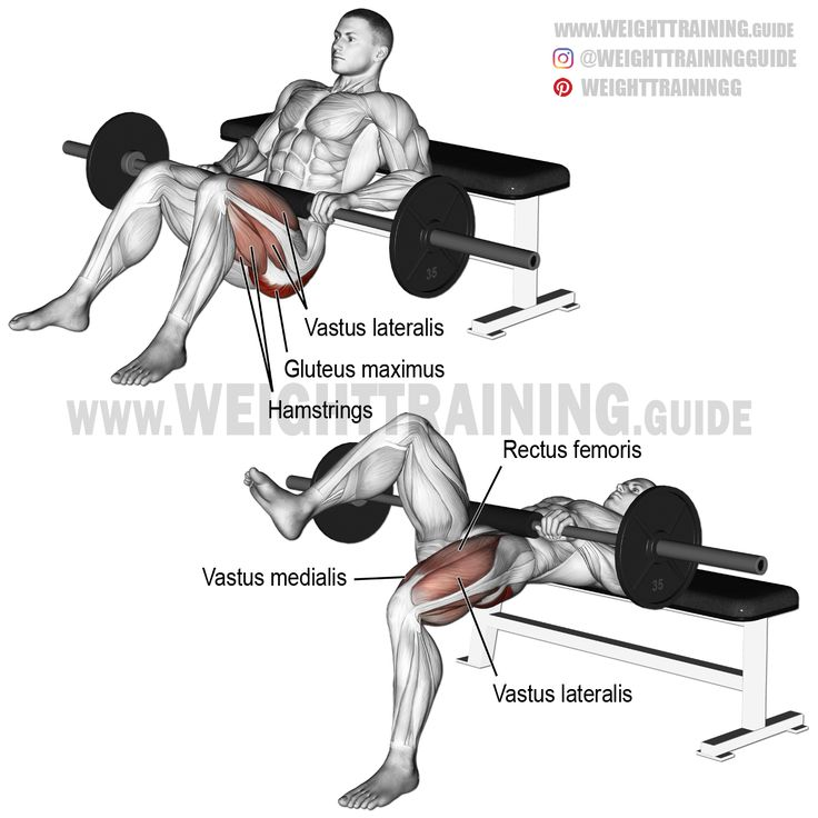 Barbell one leg hip thrust. A unilateral isolation exercise. Target muscle: Gluteus Maximus. Synergistic muscles: Quadriceps (Vastus Lateralis, Vastus Medialis, Vastus Intermedius, and Rectus Femoris). Dynamic stabilizers: Hamstrings.