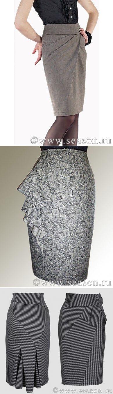Офисная юбка - благородная элегантность серого.