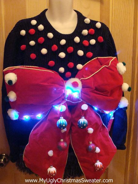 Mens Christmas Sweater with Bow and Lights