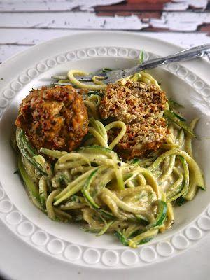 courgette spaghetti and meatballs in 'alfredo' sauce - paleo, gluten free